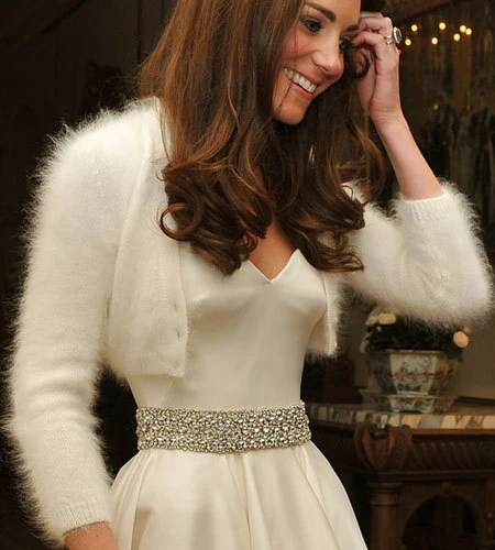 Hand Knit White Angora Cardigan Bridal bolero Shrug V-neck Inspired by Kate Middleton Wedding - tvkstyle