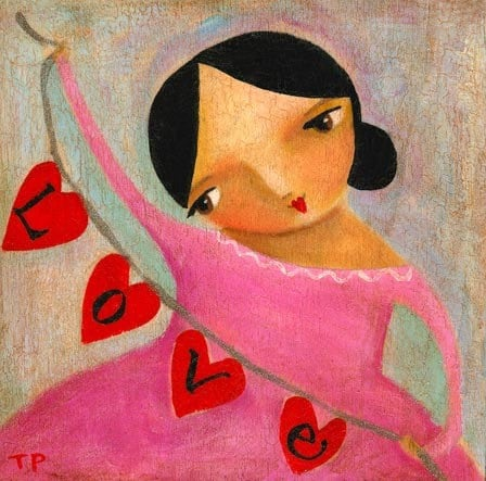 "The aptly titled ""LOVE string of hearts"" – a folk art painting by tascha"