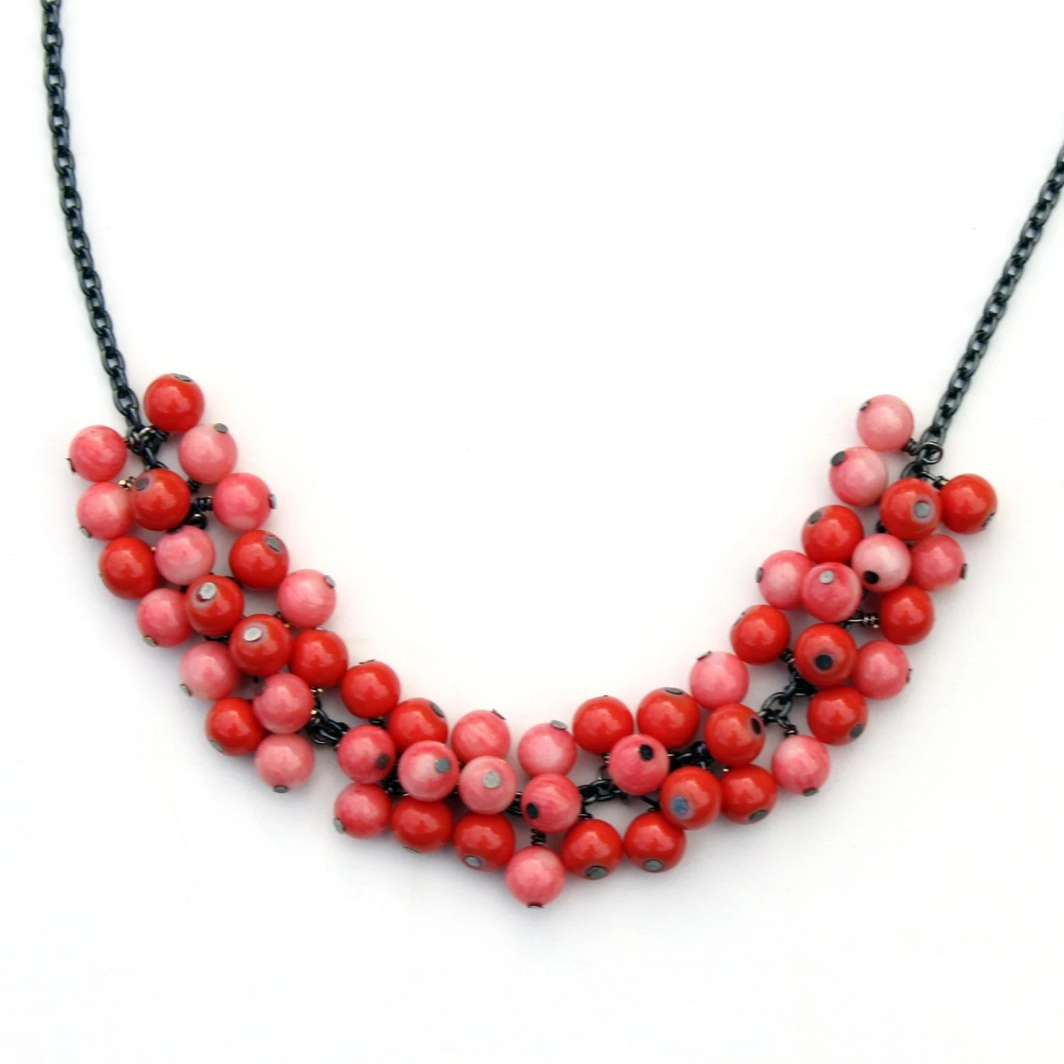 Pink coral bubble necklace
