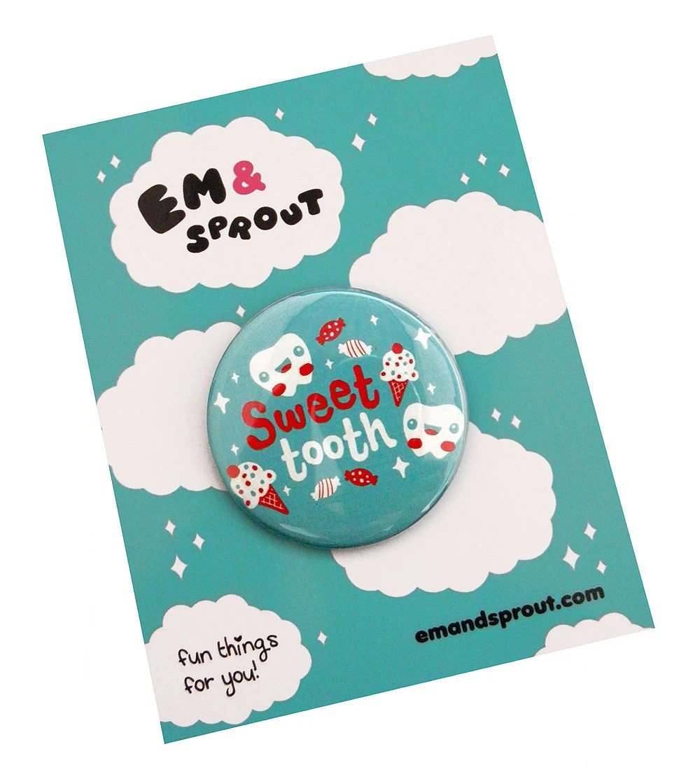 """Sweet Tooth Pin Button - LARGE 2 1/4"""" Button - emandsprout"""