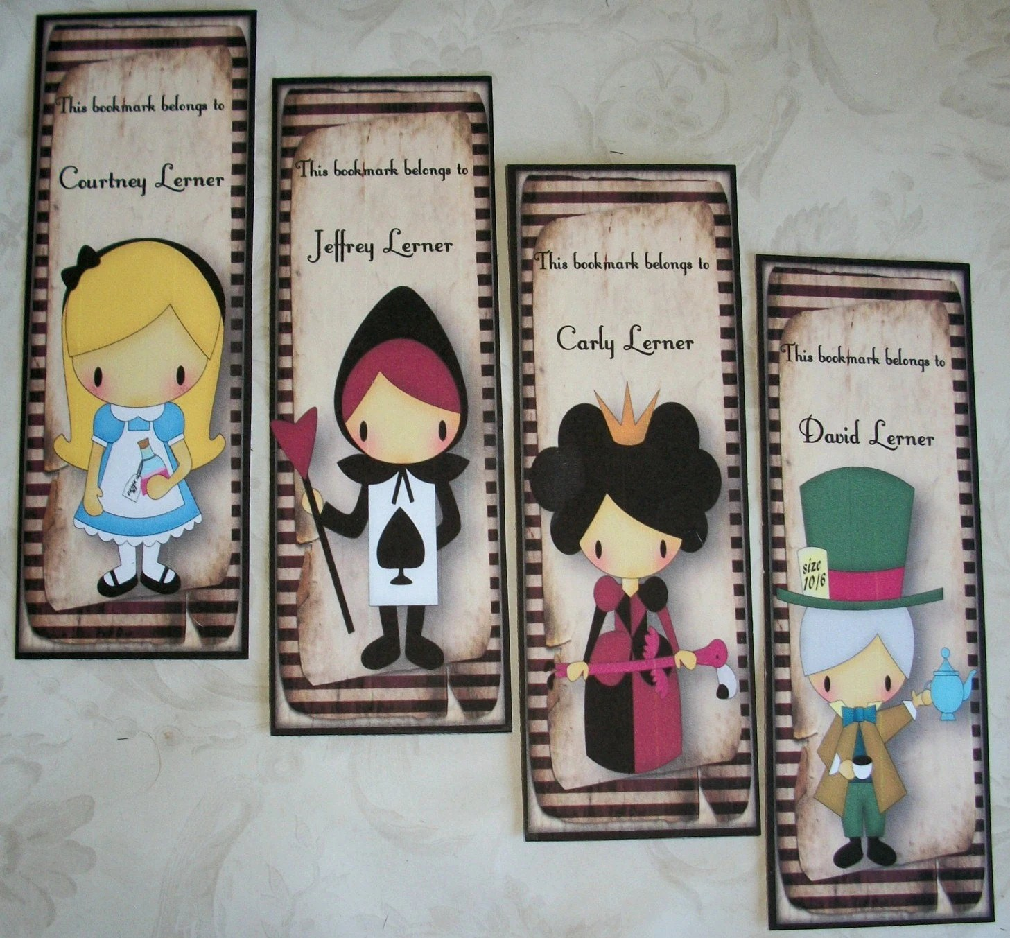 ALICE in WONDERLAND - Set of 4 different Bookmarks - Includes Personalization - Stocking Stuffer - AL 445