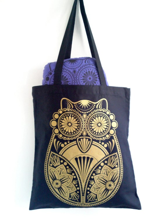 Gold Sugar Owl Screen Printed Black Tote Bag - liwbanks