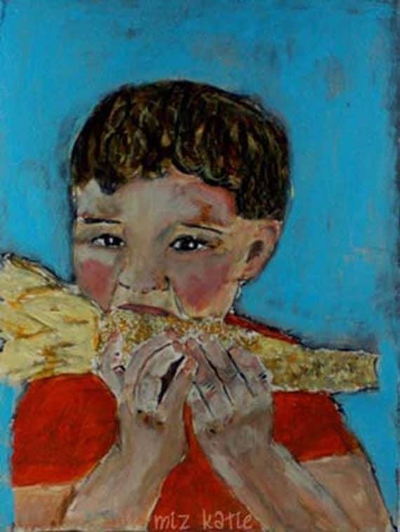 Acrylic Portrait Painting Little boy eating corn on the cob - original, 9x12, red, blue, yellow