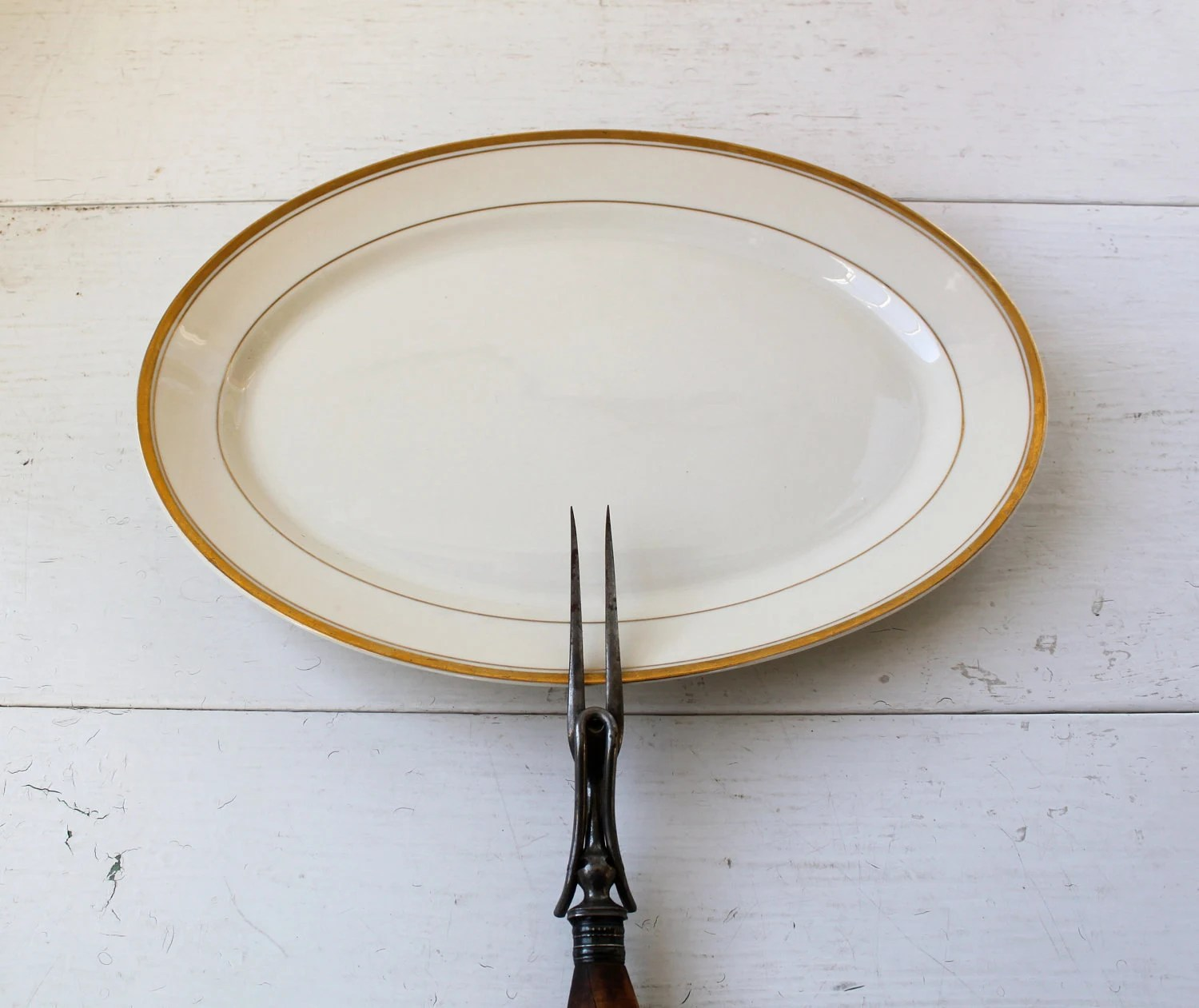 vintage 1950s gold striped platter. Old Ivory Syracuse China / the RETRO ROAST serving dish - Luncheonettevintage