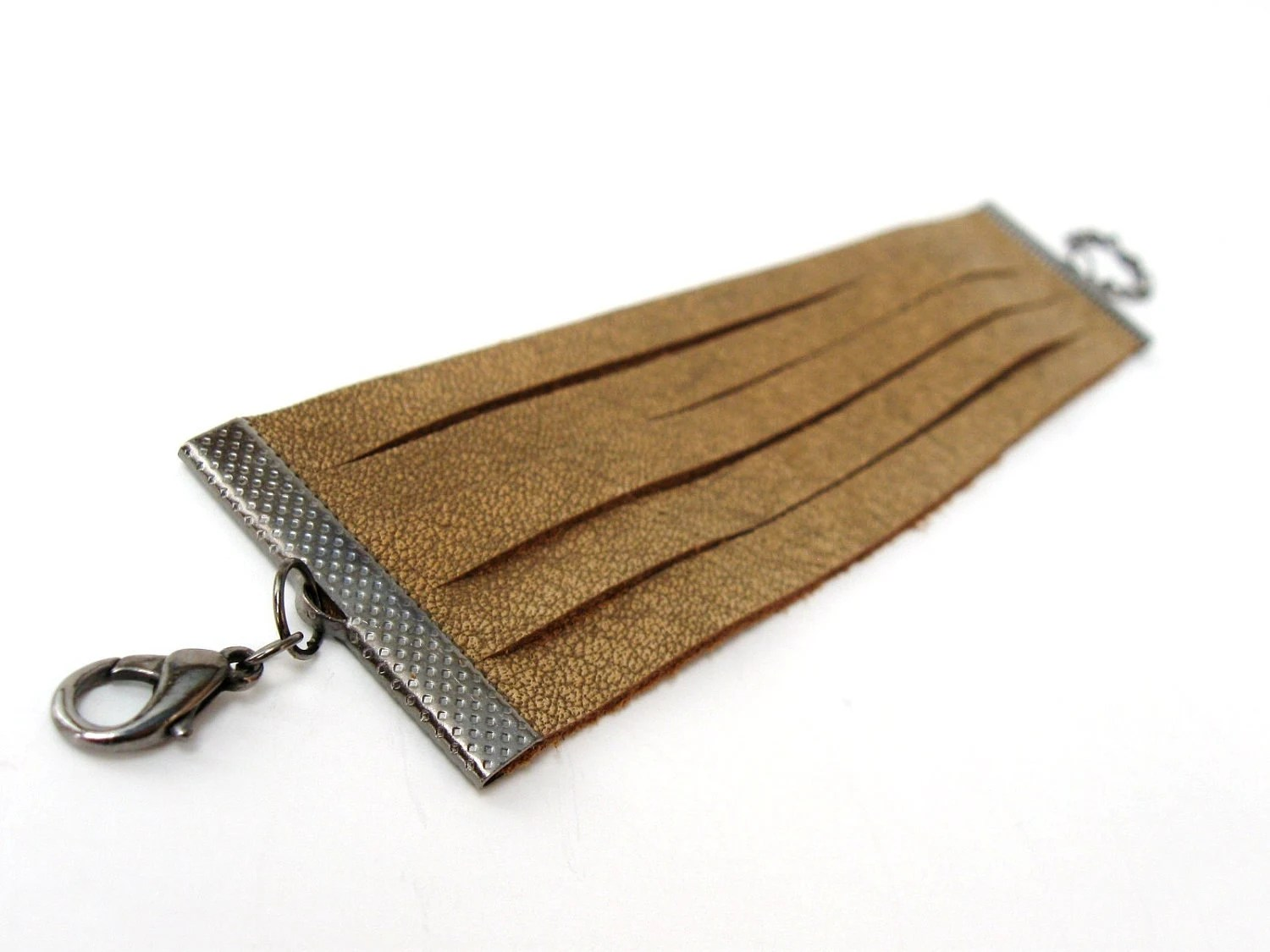 Tan Brown Leather Fashion Cuff Bracelet - with adjustable gunmetal chain - Eco friendly repurposed leather - AnnyMay