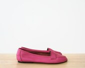 vintage 90s flats, bright pink leather loafers, size 8.5 39 - hemlines