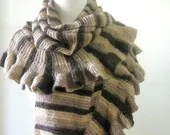 Shawl Striped Ruffle Knitting Triangle Very Soft Shawl READY TO SHIPPING - filofashion
