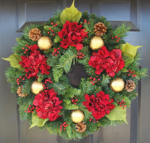 Hydrangea Christmas Wreath, Christmas Decor, Gift for Her, Wreath for Christmas - elegantholidays