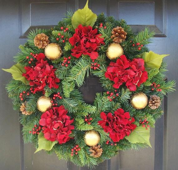 Hydrangea Christmas Wreath, Christmas Decor, Gift for Her, Wreath for Christmas - elegantholidays