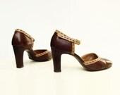 Vintage Shoes 70s MaryJane 1970s Vintage Coffee Mocha High Heel Sz 8 - StarletVintage