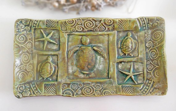 Sea Turtle Starfish Ceramic Sushi Tapas Tray Handmade Pottery Glazed in Green - IslandGirlPottery