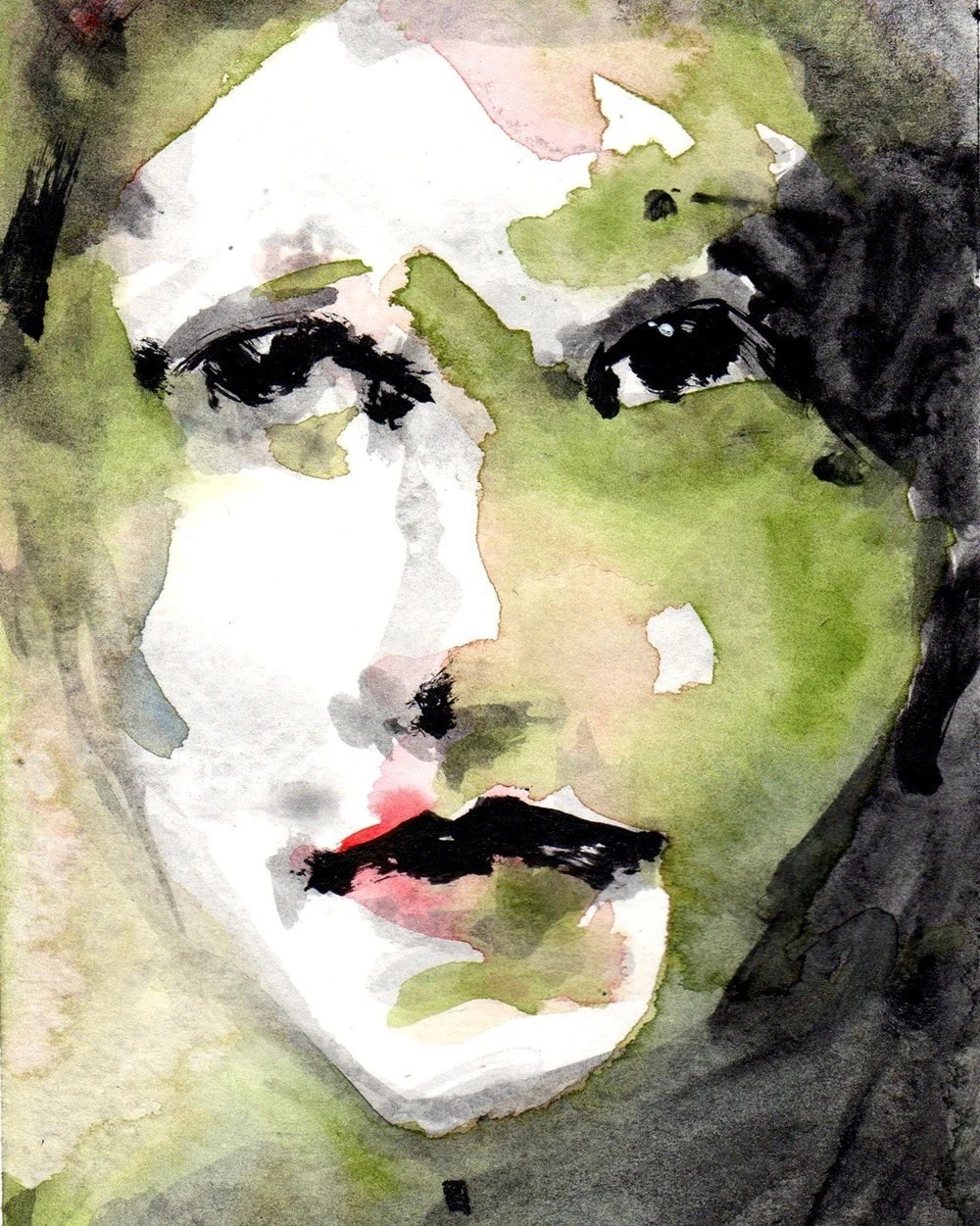 Green and Black Face Giclee Print  From Original Watercolor - CGallaFineArt