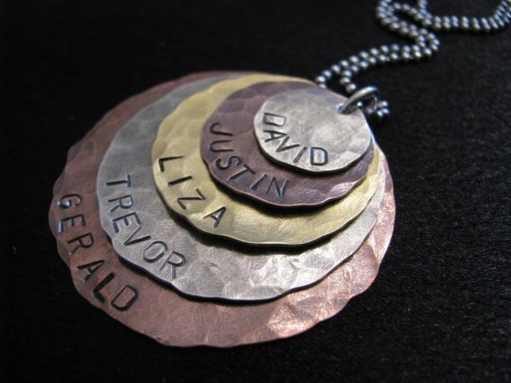 Liza Necklace- Five layers of brass, copper and silver- HAND STAMPED and personalized - magpiedesignz