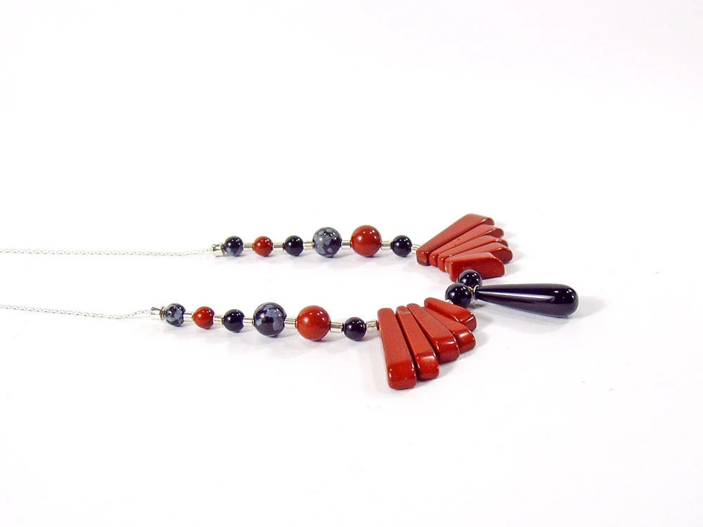 Sterling Silver Necklace, Black Onyx Drop, Red Jasper Wings - bluetina
