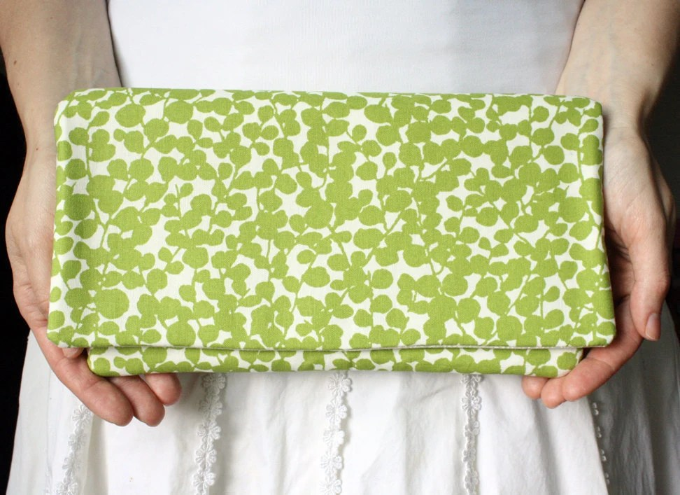 Clutch - Spring Green and Cream Botanical Bloom READY to SHIP