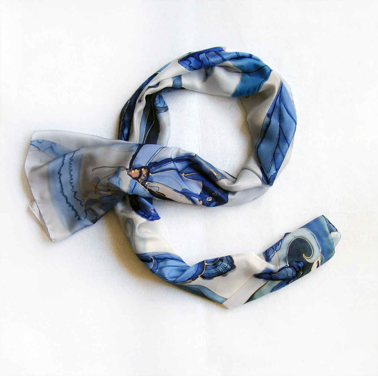 Hand painted silk scarf-Dark blue grey Butterfly Hand painted silk scarf  great gift for Mother Day - klaradar