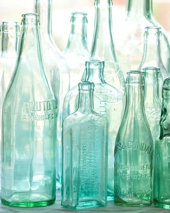 Antique bottles no. 2 ... old blue green bottles in morning light photo with sea glass colors - leapinggazelle