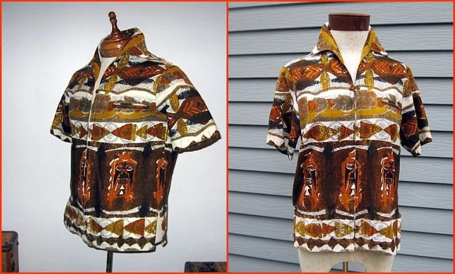 retro 60s vintage aloha shirt bark cloth brown summer unisex