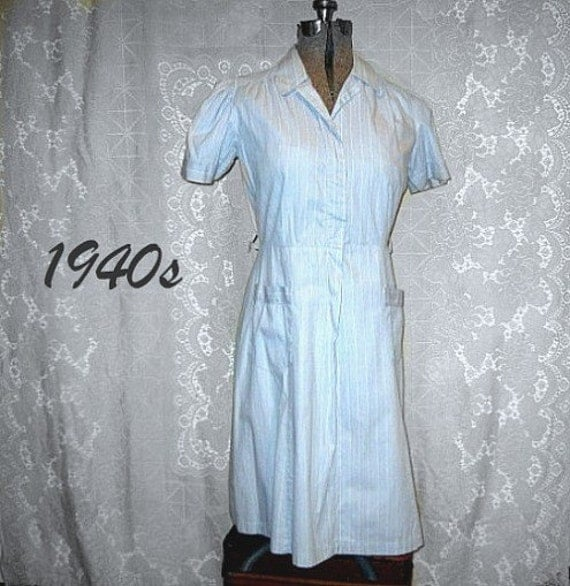 vintage forties 40 summer dress house cotton blue stripes casual plus large size