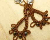 Tatted Lace Earrings in mocha brown - Frilly DRIPS with dark gold glass