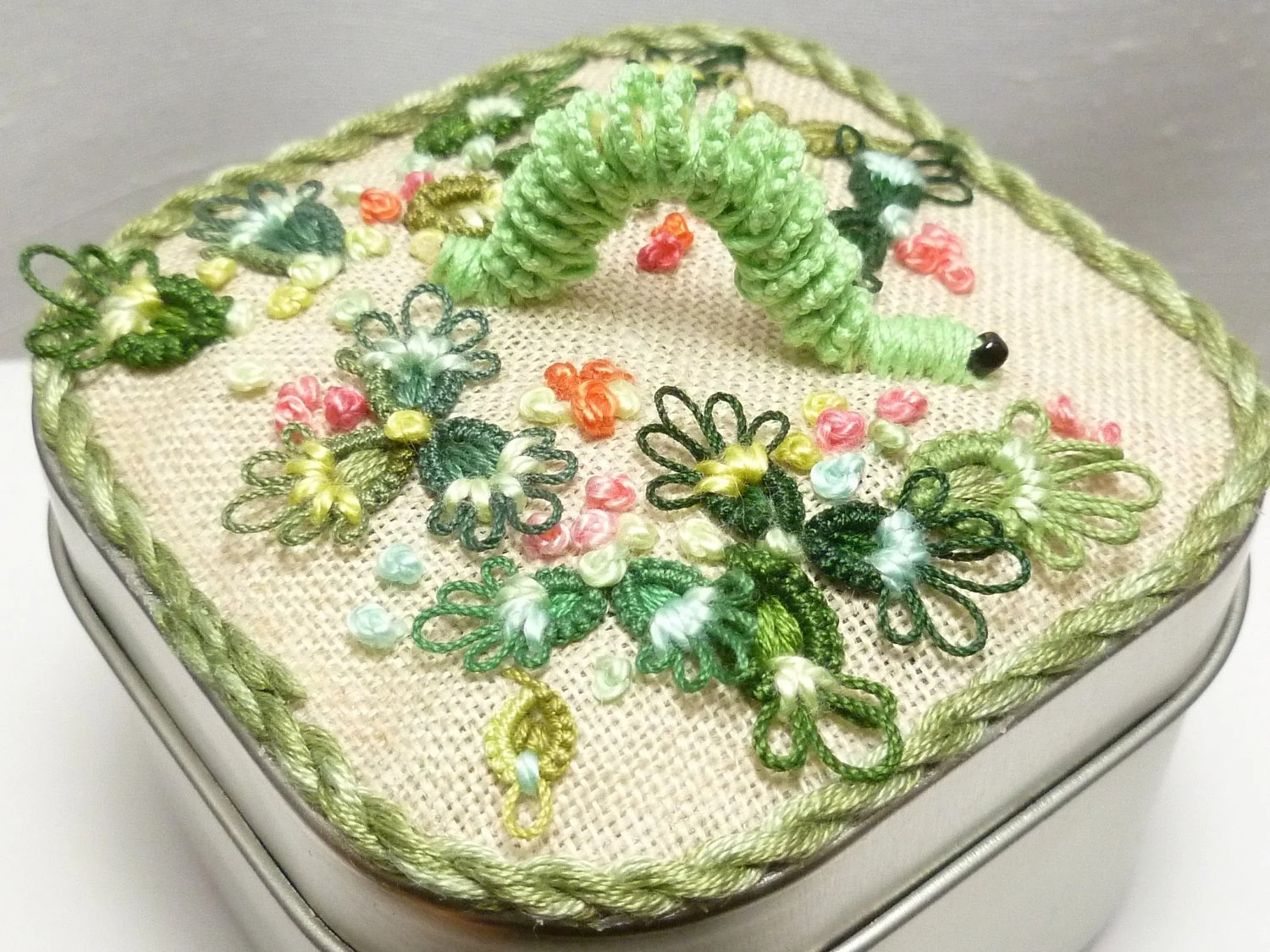 Tatted Fiber Art Catterpillar Inchworm Garden Box -Inch by Inch