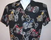 XL Men's  Shirt Motorcycle / Chopper  Black Hawaiian Shirt  Short Sleeve Shirt XL - KMSORIGINAL