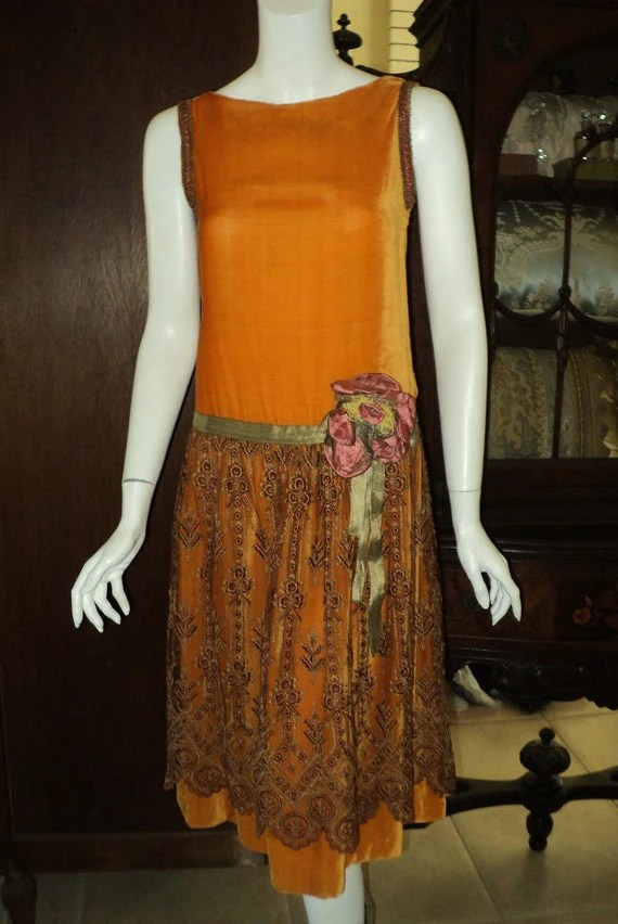 1920s Silk Velvet with Embroidered Tulle Metallic Lame Sash and silk Ribbon work Original Dress
