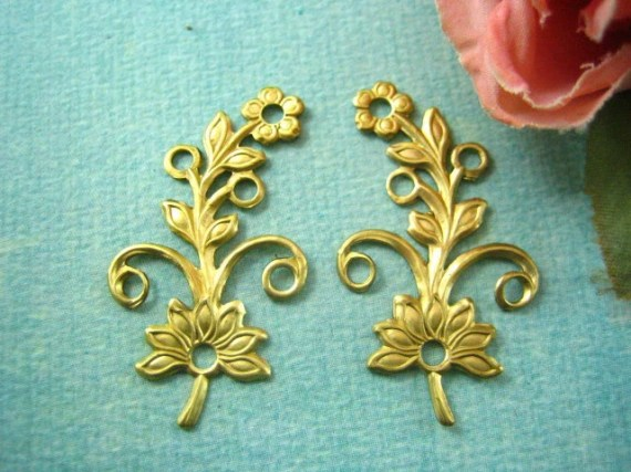 2pc floral raw brass  jewelry findings  (RB020) - yan4u