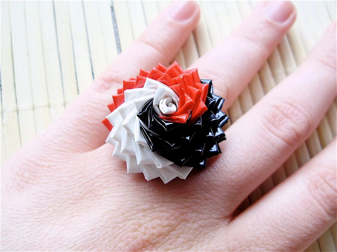 Red, White, and Black Duck Tape Rose Ring - Spiral Duct Tape Ring - QuietMischief