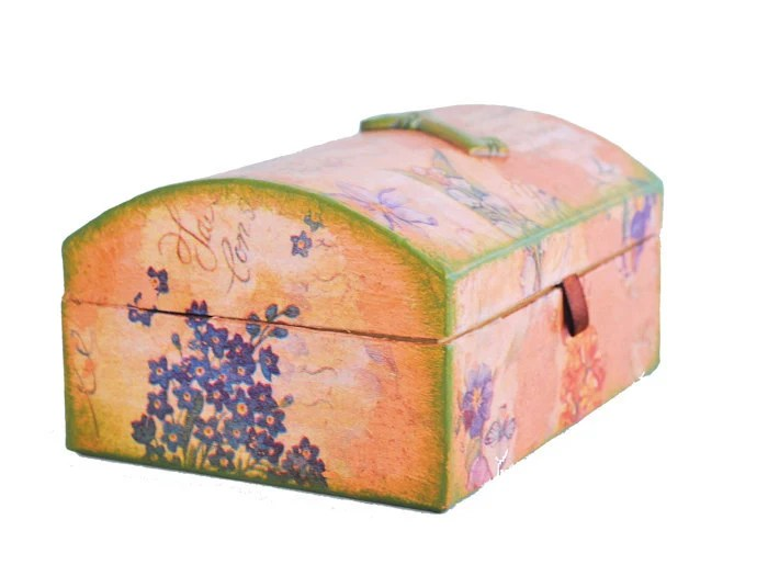 Pink Jewelry Box  - OOAK Carton Box with flowered paper decoupage, copper foil and resin key - Keepsake Box - Biberta