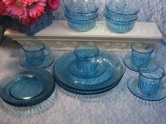 Vintage Fortecrisa Blue Glass