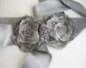 Grey Wedding Sash Belt  Satin Floral accessories - boutiqueseragun