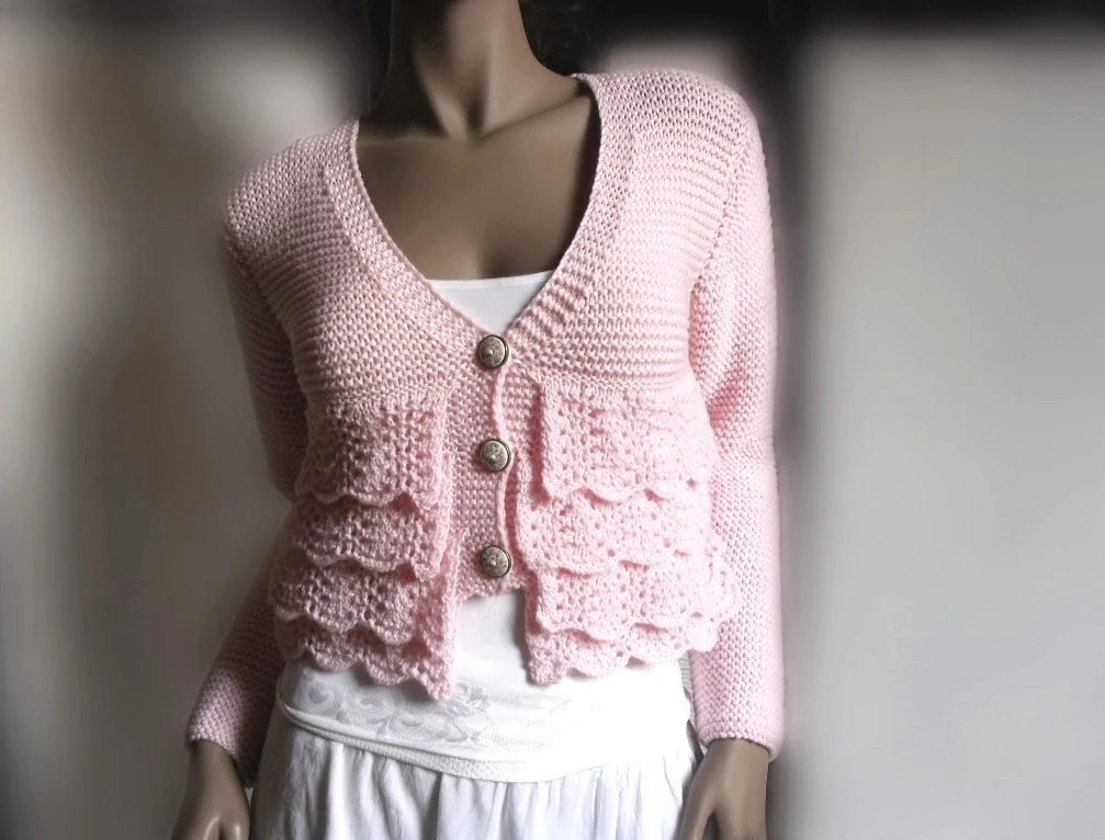 Lace Ruffle  Soft Pink Cardigan Sweater Romantic  Merino Extrafine or cotton Choose the Color - Pilland