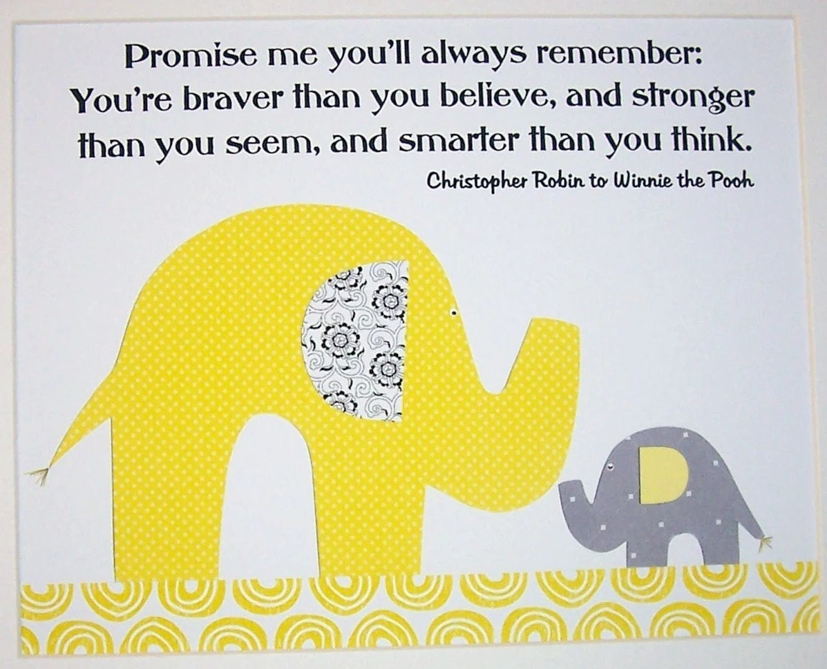 Nursery Wall Art, Children's Gift, Kids Wall Art, Nursery Art, Elephant, Grey and Yellow, Promise Me You'll Always Remember, 8x10 Print