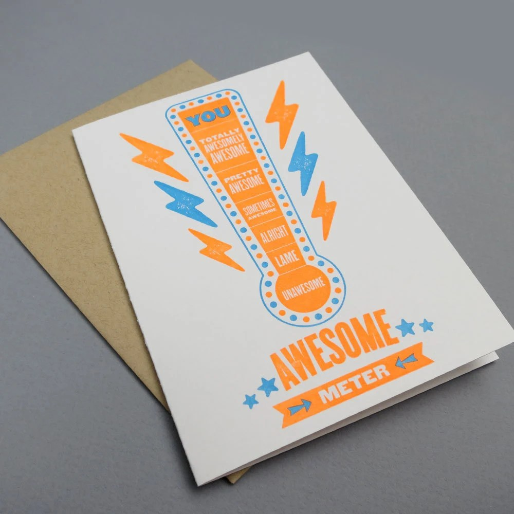 awesome meter letterpress card - fancyseeingyouhere