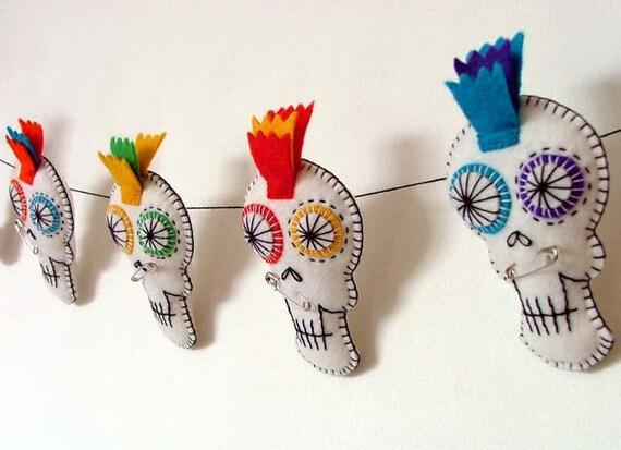 Halloween Decorations Bunting Sugar Skull Garland