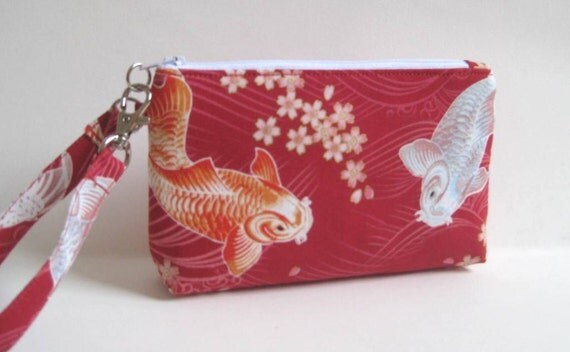 Wristlet in Red with Orange and Blue Koi Fish