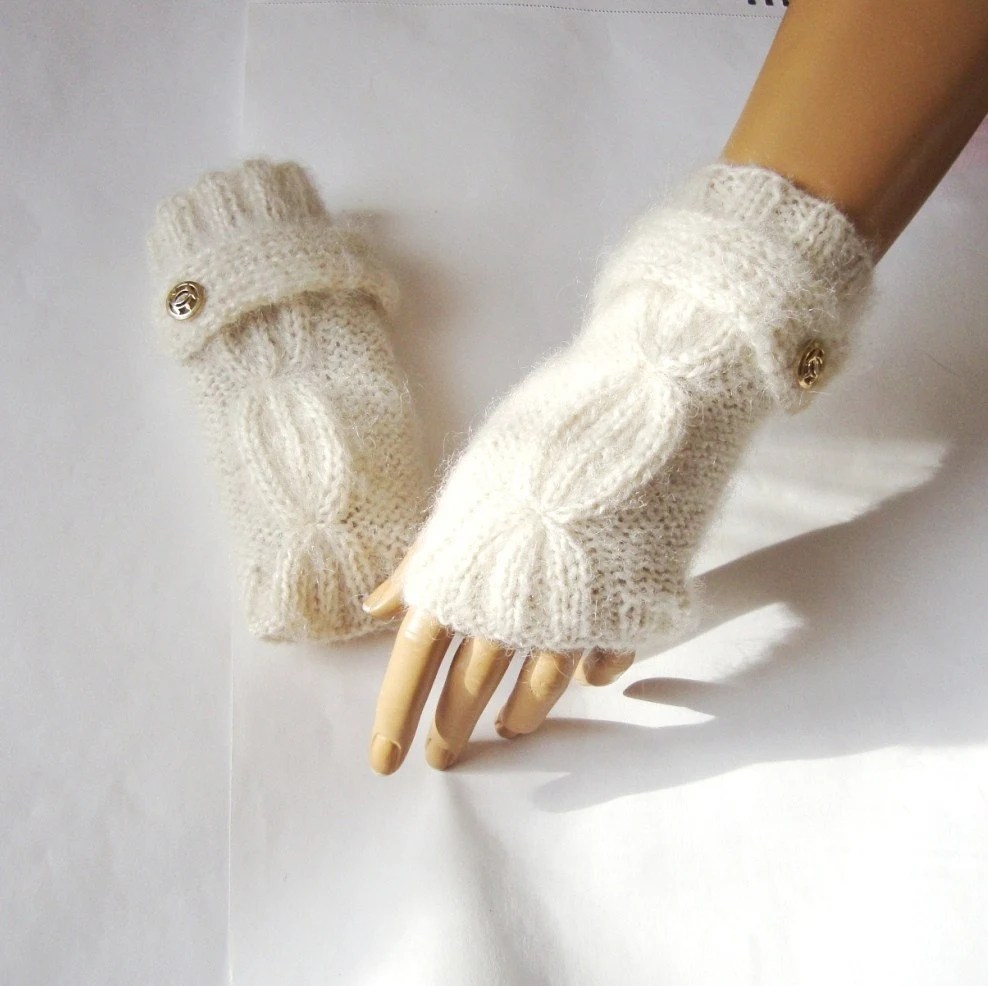 Hand Knit Ivory Gloves, Mitten Fingerless Glove, Arm Warmer, Winter Accessories Fall Fashion, Holiday Accessories - Pasin