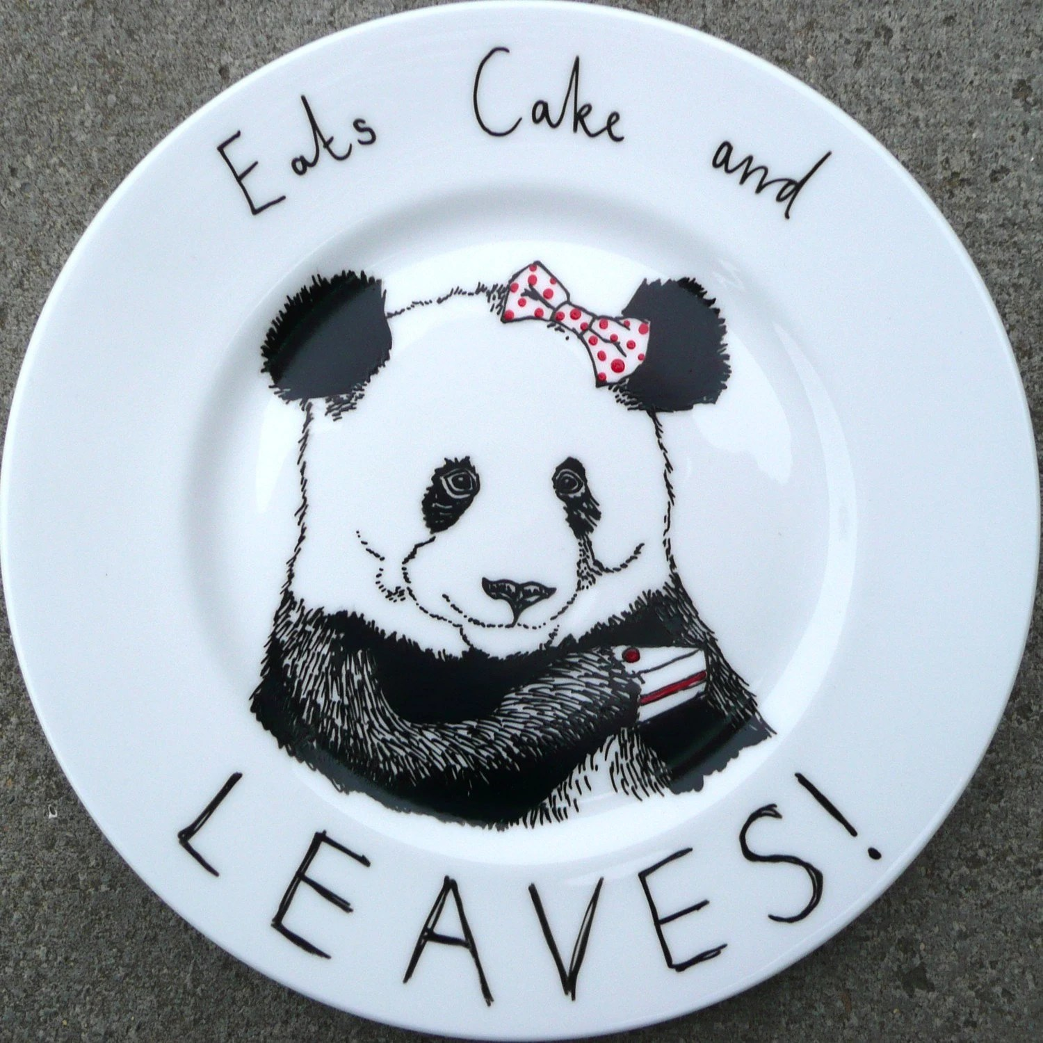 Hand Drawn Panda Plate - Eats Cake and Leaves
