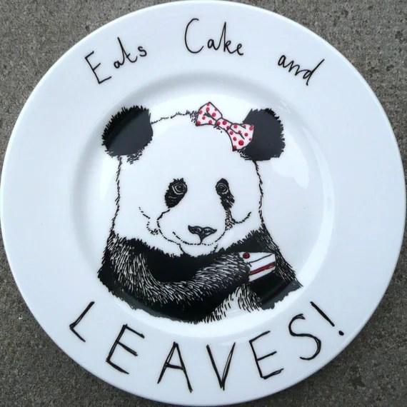 Hand Drawn Panda Plate - Eats Cake and Leaves