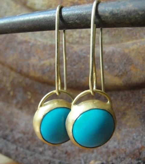 Turquoise Earrings, Gold Earrings, 22k Gold & Turquoise Earrings