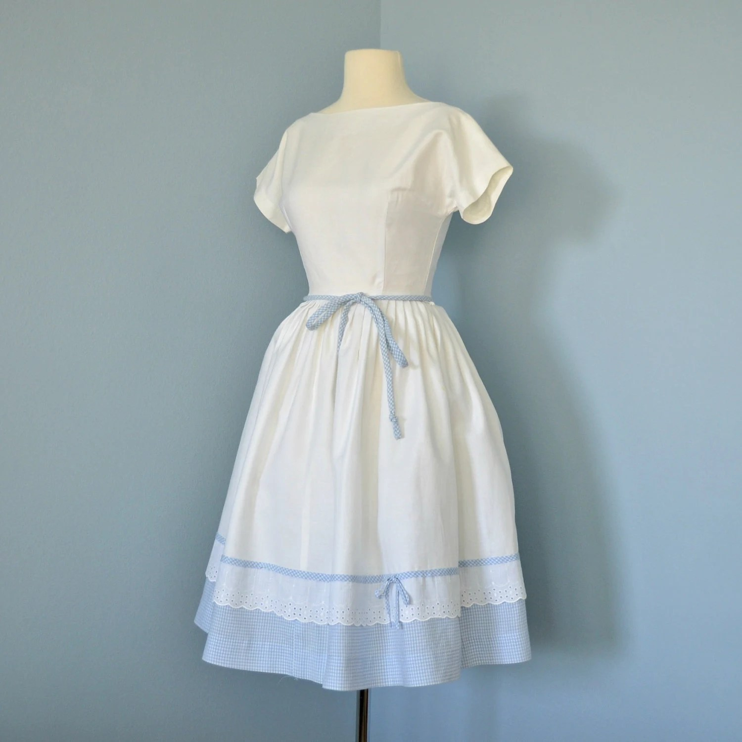RESERVED FOR MICHELLE Vintage Cotton Dress...1960's Short White Embossed Cotton Lois Ann Jrs. Dress  Blue Gingham and Eyelet Lace