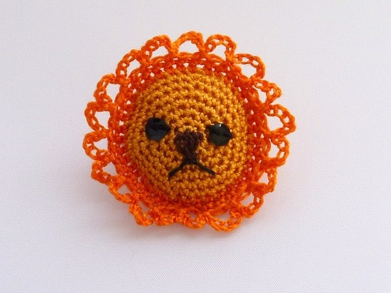 Tiny Lion Brooch Crochet Amigurumi Animal