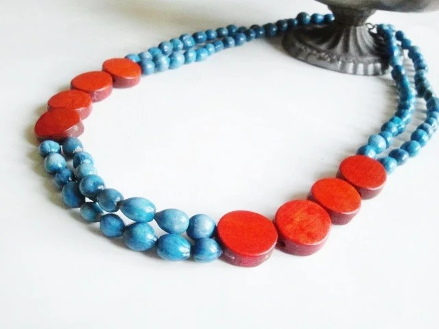 Double strand blue and red  ethnic wood statement necklace- The Ashira