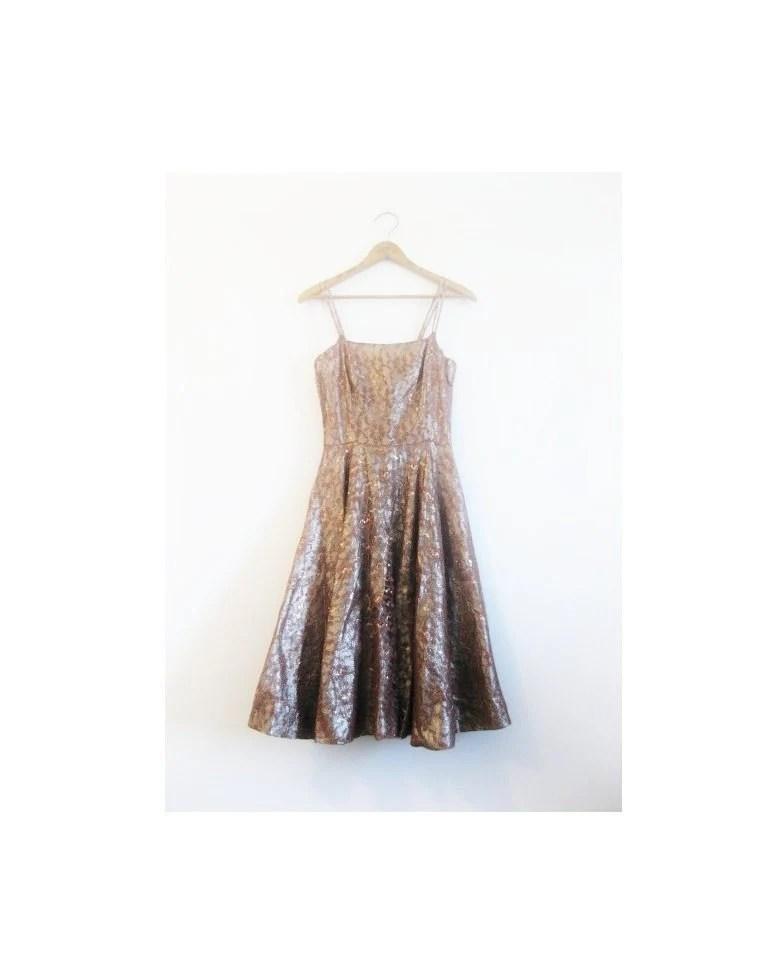 1940s-1950s METALLIC lace classic dress - croatiavintage