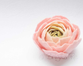 Sweet Pink Cream Olive Green Ranunculus Felt Flower Brooch Made to Order - Brigite