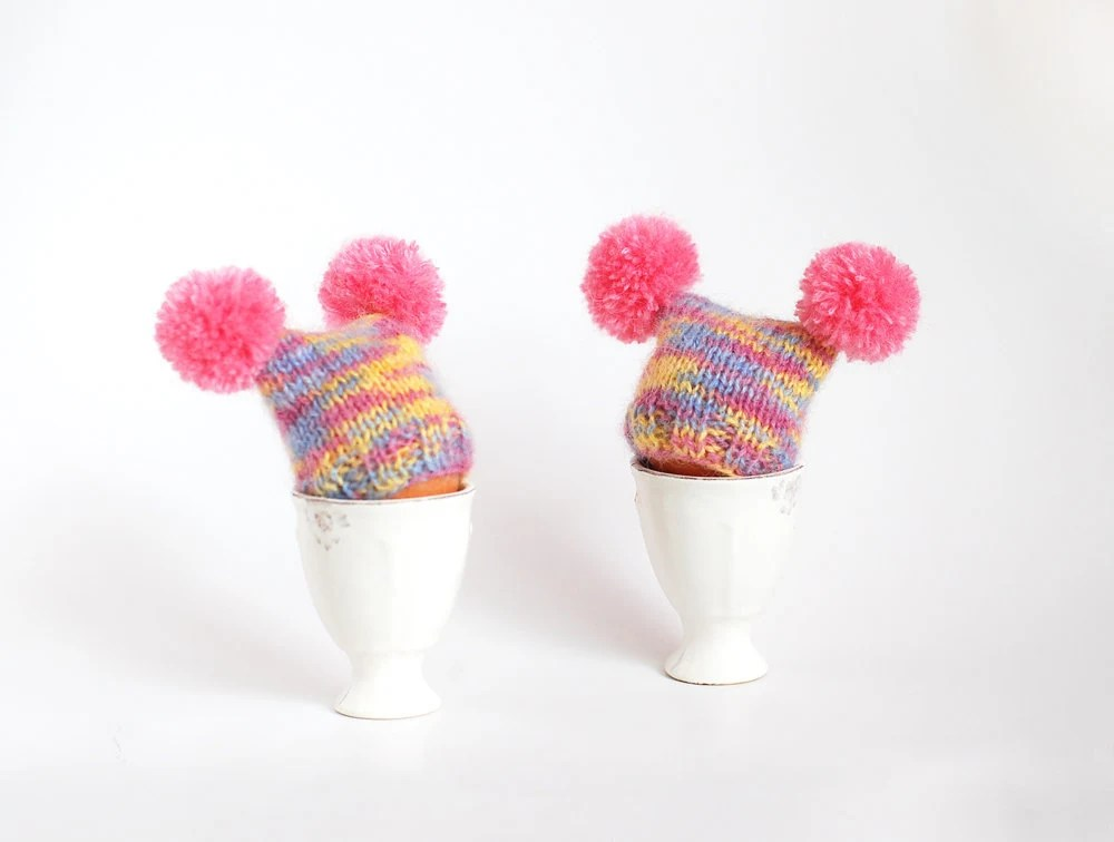 Multicolor egg warmers with pink poms - imali