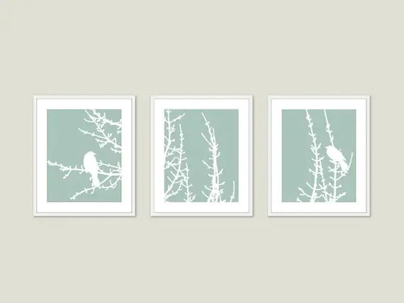 Spring Birds and Branches Wall Art Print Set Green Seafoam Pastel Modern Woodland Home Decor