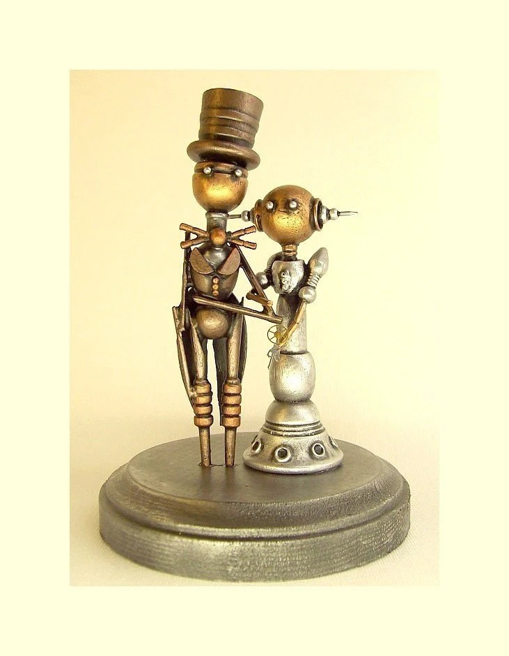 Robot Wedding Cake Topper Elegant Space Princess Bride Groom Top Hat Tails Wood Steampunk Statues