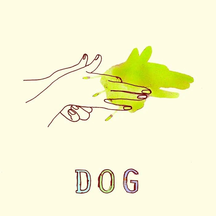 "Funny wall Art Print Dog animal painting  7x7"" neon Lime green animal art kids wall art - LouisestArt"